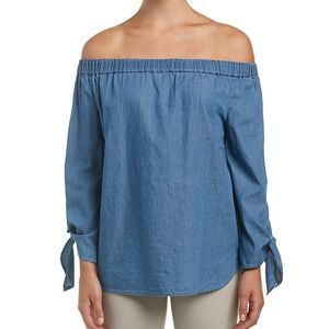 Beachlunchlounge | Chambray Off Shoulder Top
